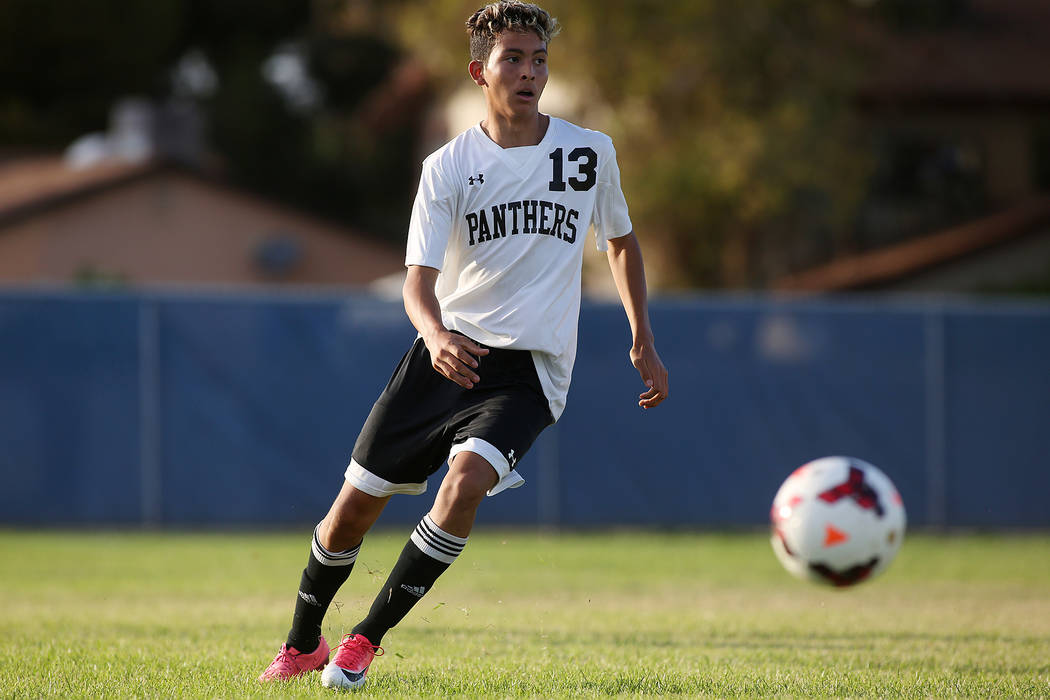Palo Verde player Zechariah Ruffer passes the ball during a game against Faith Lutheran at Green Valley High School on Monday, Aug. 28, 2017, in Las Vegas. Palo Verde won 2-0. Bridget Bennett Las  ...
