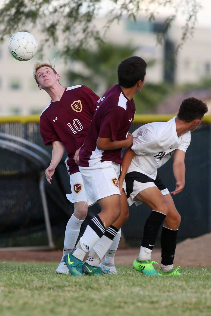 Faith Lutheran player Zac Abdo heads the ball during a game against Palo Verde at Green Valley High School on Monday, Aug. 28, 2017, in Las Vegas. Palo Verde won 2-0. Bridget Bennett Las Vegas Rev ...