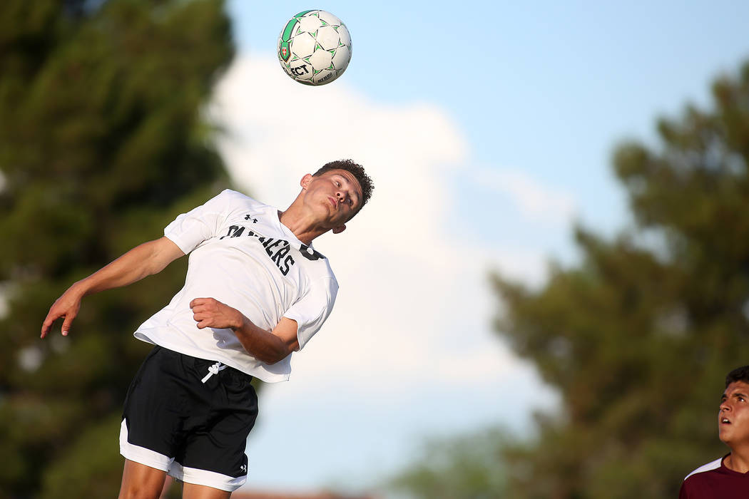 Palo Verde player Michael Vogel heads the ball during a game against Faith Lutheran at Green Valley High School on Monday, Aug. 28, 2017, in Las Vegas. Palo Verde won 2-0. Bridget Bennett Las Vega ...