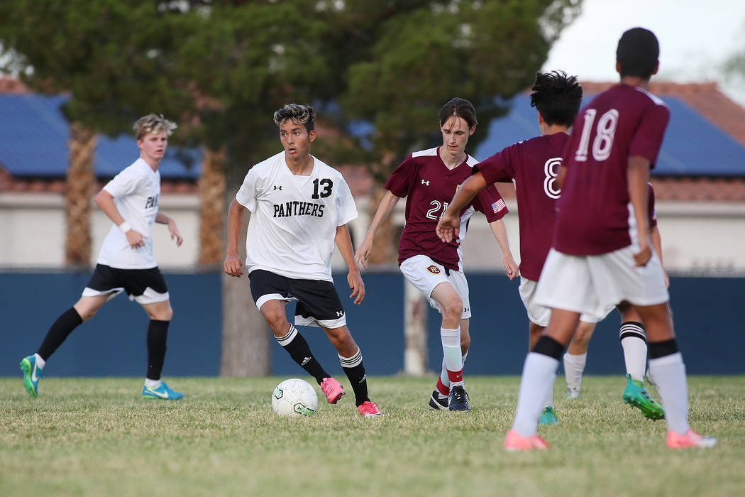 Palo Verde player Zechariah Ruffer dribbles the ball during a game against Faith Lutheran at Green Valley High School on Monday, Aug. 28, 2017, in Las Vegas. Palo Verde won 2-0. Bridget Bennett La ...