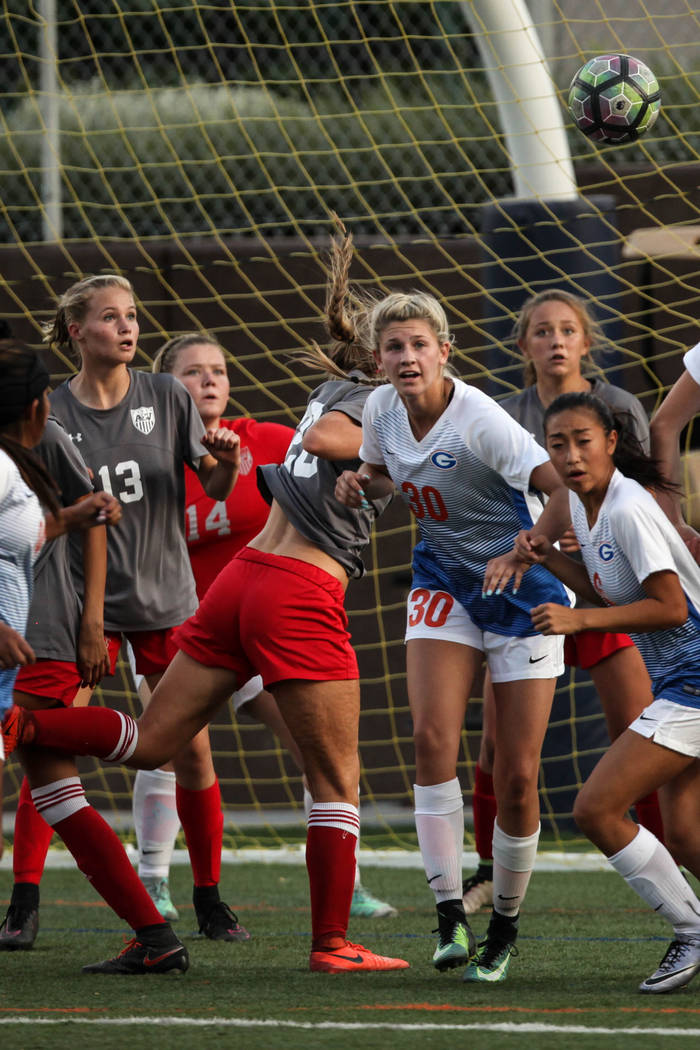 Bishop Gorman's Gianna Gourley, 30, stares at the ball following a corner kick during a game against Arbor View High School at Bishop Gorman High School in Las Vegas on Aug. 31, 2017. Bishop Gorma ...