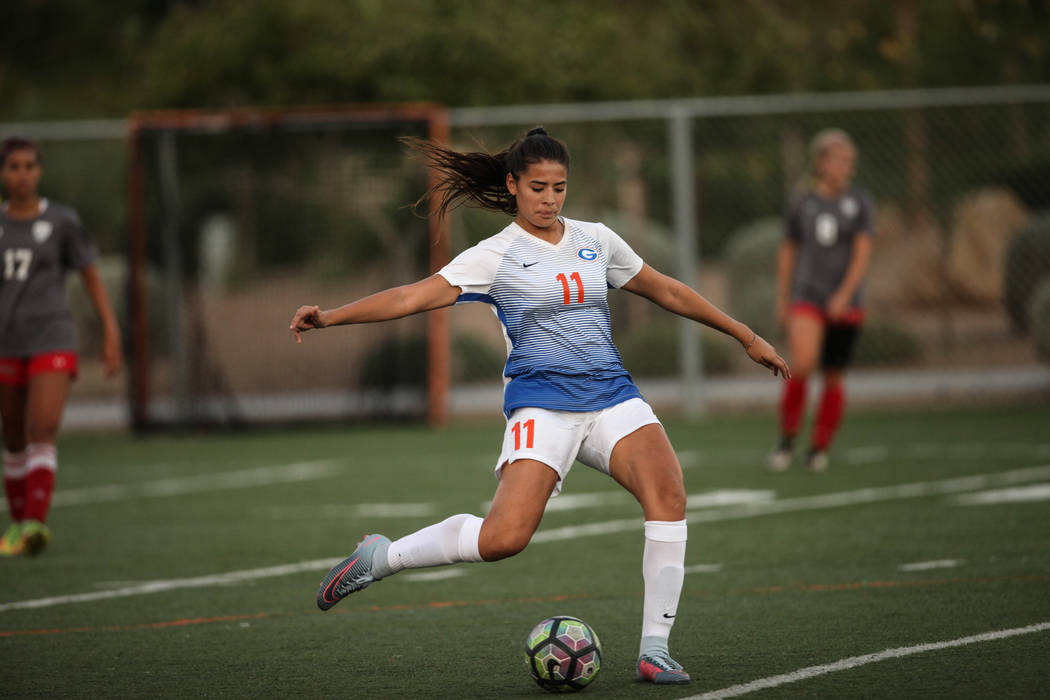 Bishop Gorman's Jasmine Anaya, 11, kicks the ball during a game against Arbor View High School at Bishop Gorman High School in Las Vegas on Aug. 31, 2017. Bishop Gorman won 4-3. Joel Angel Juarez  ...