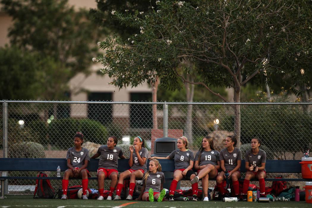 Players from Arbor View sit on a bench during a game against Bishop Gorman at Bishop Gorman High School in Las Vegas on Aug. 31, 2017. Bishop Gorman won 4-3. Joel Angel Juarez Las Vegas Review-Jou ...