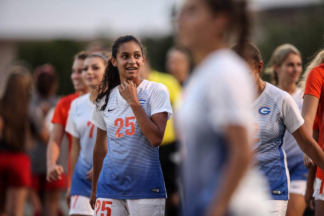 Bishop Gorman's Samantha Nieves, 25, smiles after beating Arbor View 4-3 at Bishop Gorman High School in Las Vegas on Aug. 31, 2017. Joel Angel Juarez Las Vegas Review-Journal @jajuarezphoto