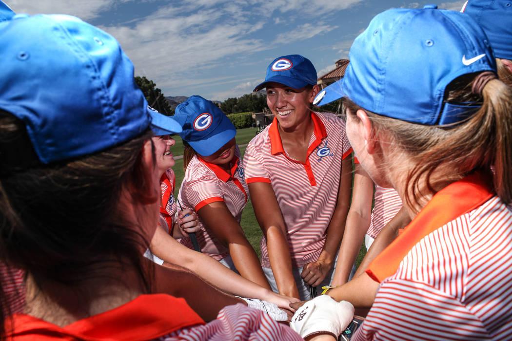 Hunter Pate of Bishop Gorman High School gathers with her teammates at the Highland Falls Golf Course in Las Vegas on Aug. 28, 2017. Joel Angel Juarez Las Vegas Review-Journal @jajuarezphoto