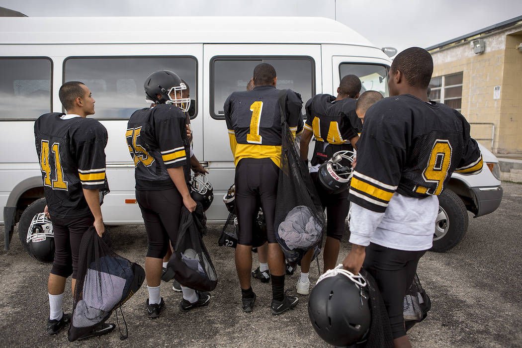 Players line up for a ride to the football field at Spring Mountain Youth Camp on Tuesday, Aug. 29, 2017. Bridget Bennett Las Vegas Review-Journal @bridgetkbennett