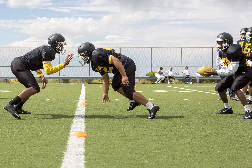 Spring Mountain players run drills during practice at Spring Mountain Youth Camp on Tuesday, Aug. 29, 2017. Bridget Bennett Las Vegas Review-Journal @bridgetkbennett