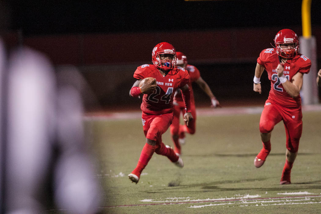 Arbor View High School Aggie running back Rodney Pitts (24) heads towards the end zone at Arbor View High School on Friday, Sep. 1, 2017, in Las Vegas. Morgan Lieberman Las Vegas Review-Journal