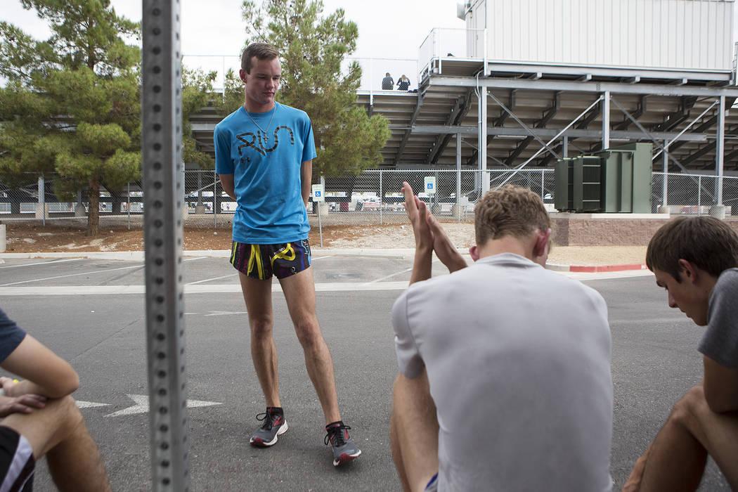 Pahrump cross country runner Bryce Odegard talks with teammates prior to practice at Pahrump Valley High School on Tuesday, Sept. 5, 2017. Bridget Bennett Las Vegas Review-Journal @bridgetkbennett