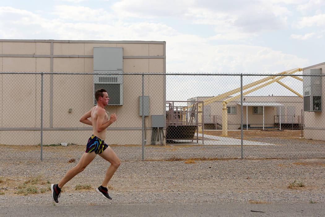 Pahrump cross country runner Bryce Odegard runs during practice at Pahrump Valley High School on Tuesday, Sept. 5, 2017. Bridget Bennett Las Vegas Review-Journal @bridgetkbennett