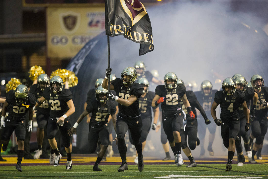 Faith Lutheran takes the field for their football game against Green Valley at Faith Lutheran Middle School and High School in Las Vegas, on Friday, Sept. 8, 2017. Erik Verduzco Las Vegas Review-J ...