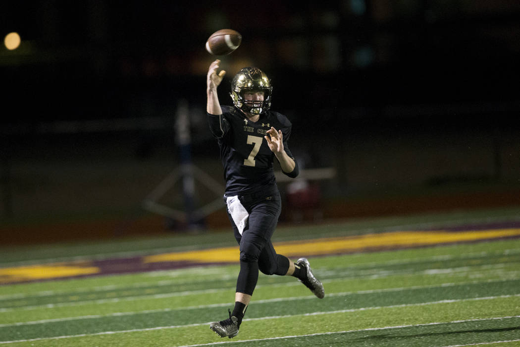 Faith Lutheran's quarterback Sagan Gronauer (7) throws a pass against Green Valley in the football game at Faith Lutheran Middle School and High School in Las Vegas, on Monday, Aug. 21, 2017. Erik ...