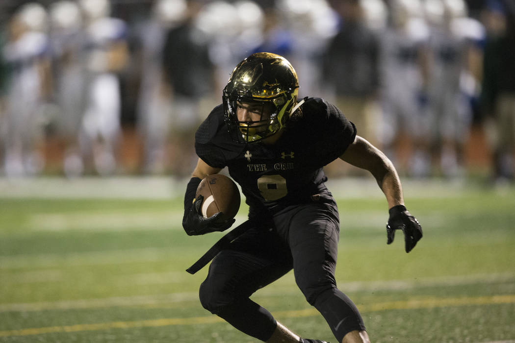 Faith Lutheran's Keagan Touchstone (9) intercepts the ball against Green Valley in the football game at Faith Lutheran Middle School and High School in Las Vegas, on Monday, Aug. 21, 2017. Erik Ve ...