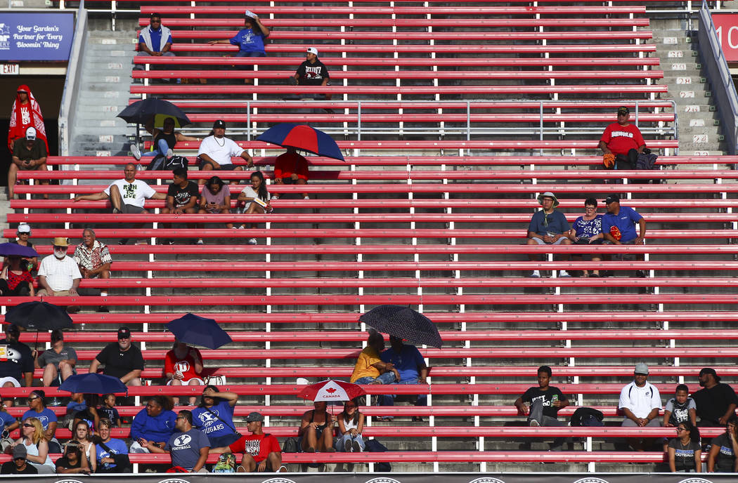 Fans watch as Alta plays Liberty during a football game at Sam Boyd Stadium in Las Vegas on Saturday, Sept. 9, 2017. Liberty won 28-7. Chase Stevens Las Vegas Review-Journal @csstevensphoto