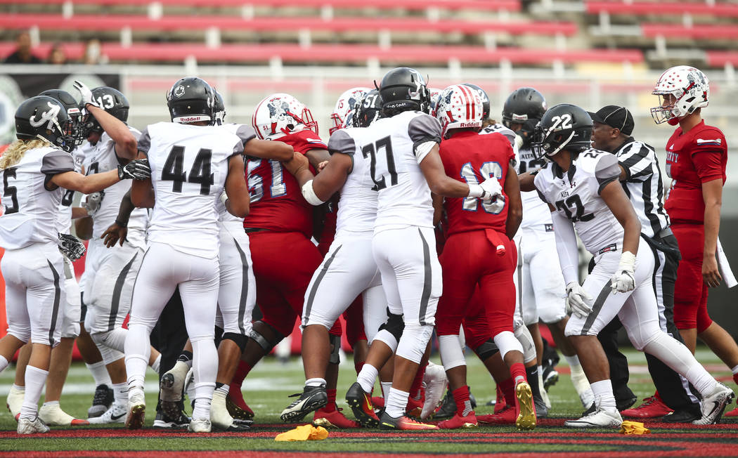 Alta and Liberty players get into an altercation during a football game at Sam Boyd Stadium in Las Vegas on Saturday, Sept. 9, 2017. Liberty won 28-7. Chase Stevens Las Vegas Review-Journal @csste ...