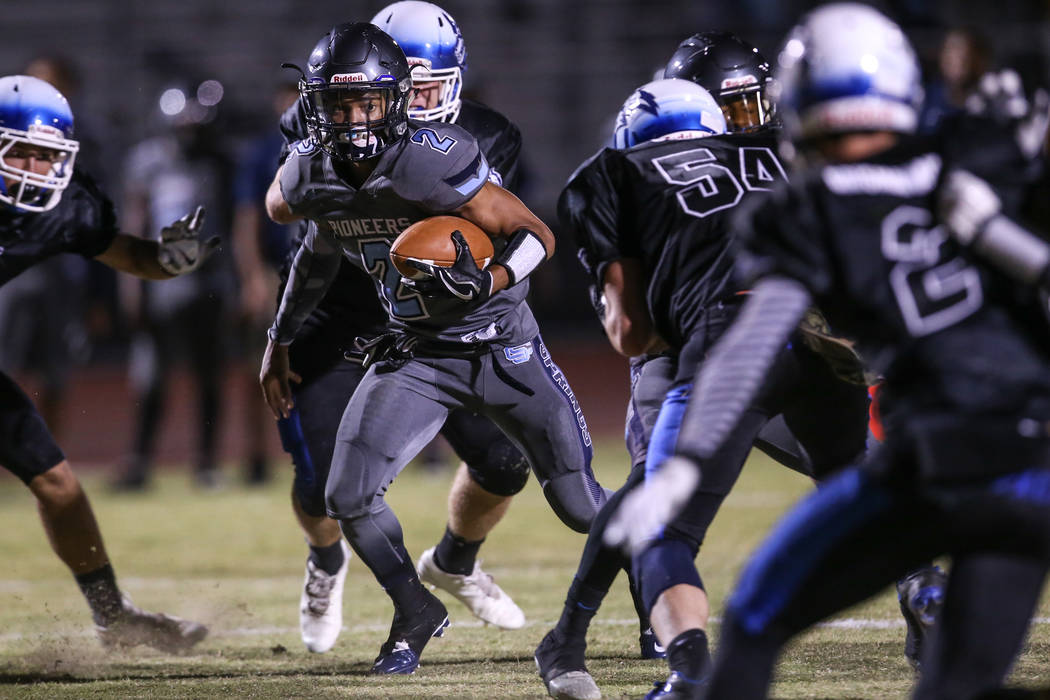 Basic's Zack Grismanauskas (2) runs the ball against Canyon Springs during the second quarter of a football game at Basic High School in Henderson, Friday, Sept. 15, 2017. Joel Angel Juarez Las Ve ...