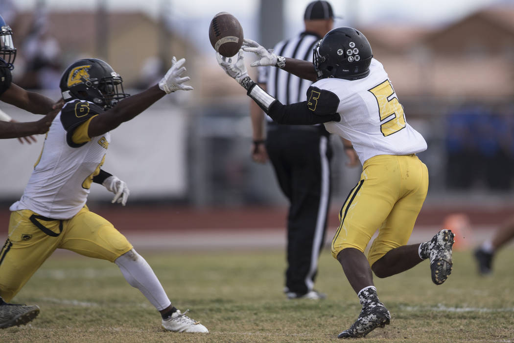 Clark's Isaiah Veal (5) reaches for a dropped pass against Sierra Vista in their football game at Sierra Vista High School in Las Vegas, Saturday, Sept. 23, 2017. Sierra Vista won 49-14. Erik Verd ...