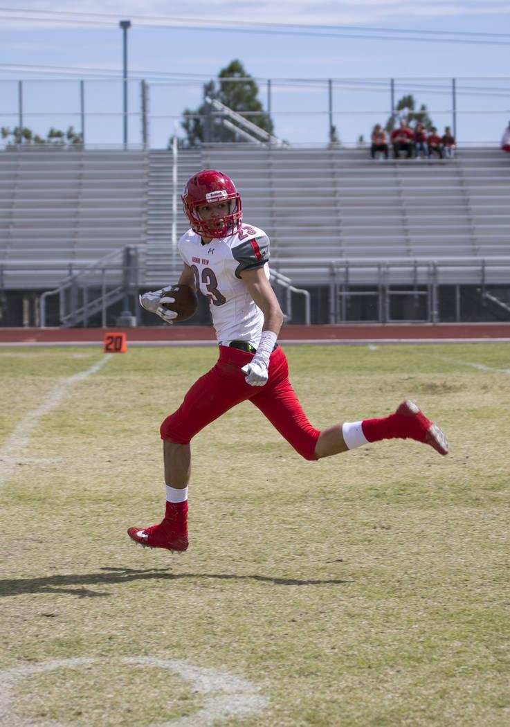 Arbor View's Deago Stubbs (23) runs the ball for a touchdown against Shadow Ridge during a football game at Shadow Ridge High School on Saturday, Sept. 23, 2017, in Las Vegas. Richard Brian Las Ve ...