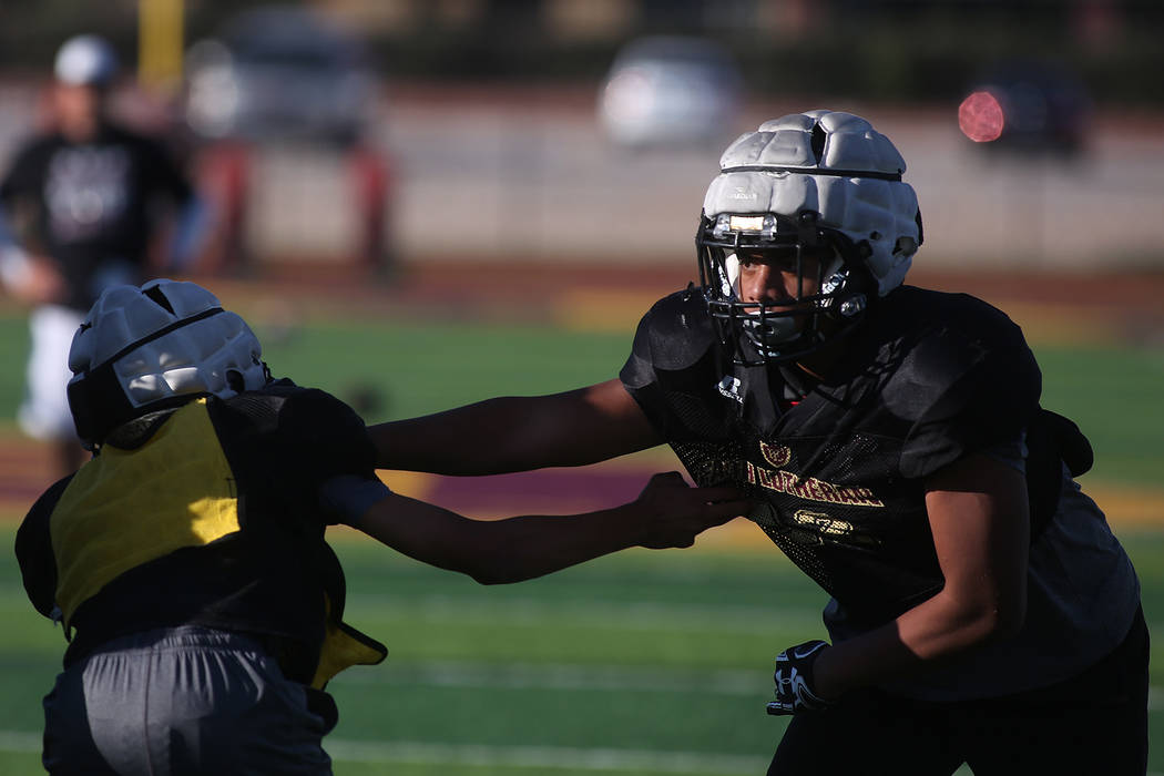 Faith Lutheran football player Ma'a Gaoteote, right, practices with teammates at Faith Lutheran High School in Las Vegas, Tuesday, Sept. 26, 2017. Bridget Bennett Las Vegas Review-Journal @Bridget ...