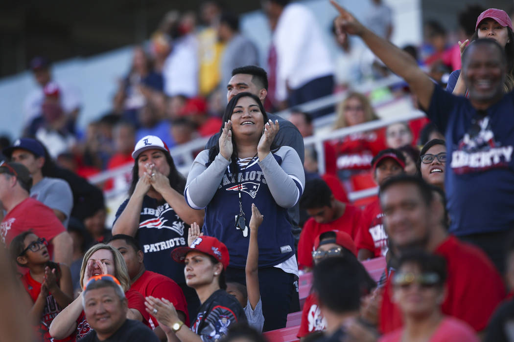 Liberty fans cheer after a touchdown against Alta during a football game at Sam Boyd Stadium in Las Vegas on Saturday, Sept. 9, 2017. Liberty won 28-7. Chase Stevens Las Vegas Review-Journal @csst ...