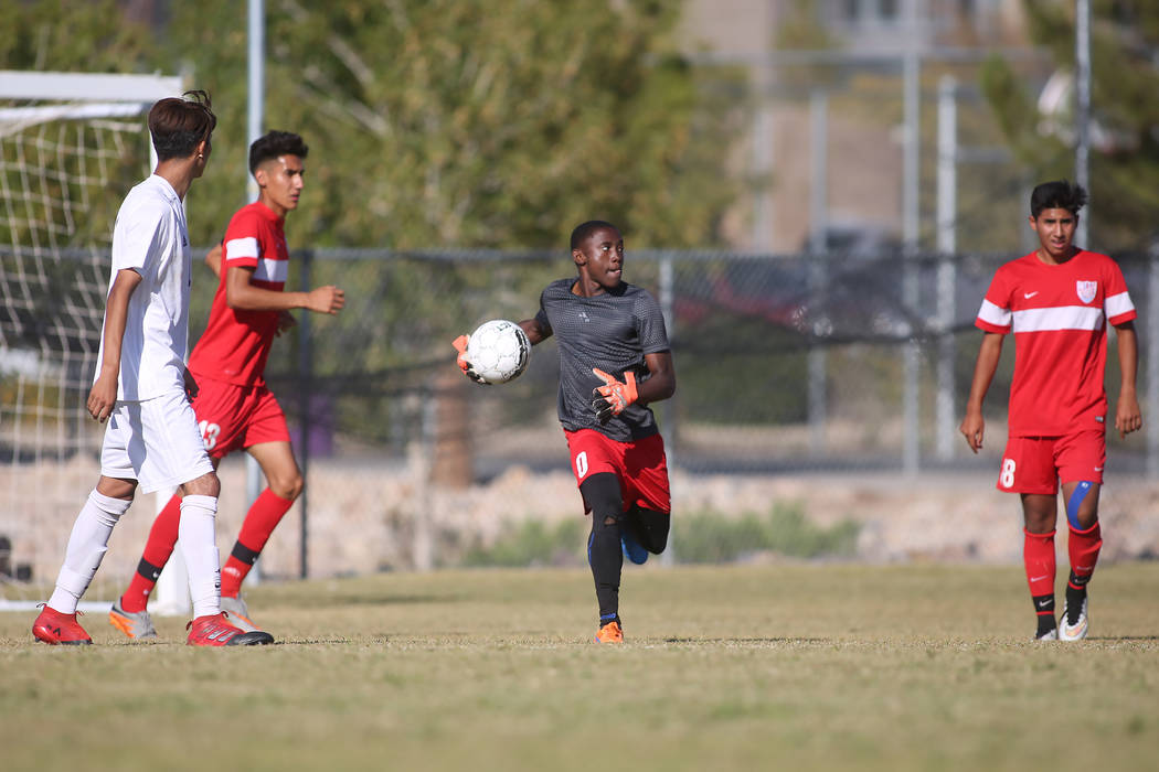 Western goalie Francisco Corona (0) looks for someone to pass the ball to during a game against Sunrise Mountain at Sunrise Mountain High School in Las Vegas, Wednesday, Sept. 27, 2017. Sunrise Mo ...
