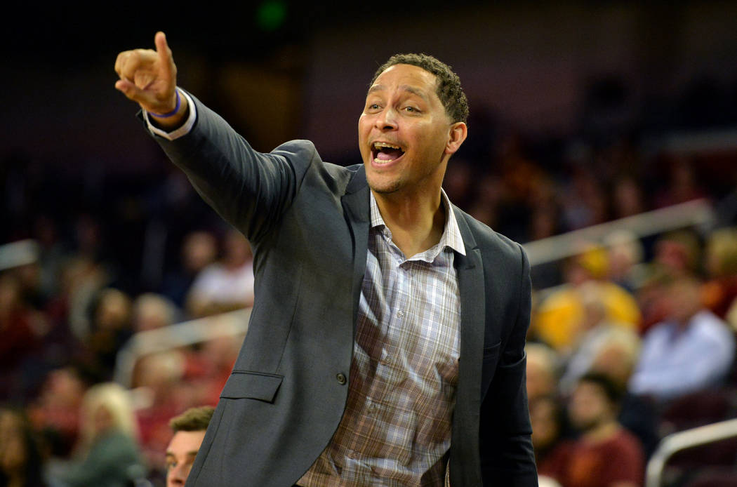 Southern California Trojans associate head coach Tony Bland reacts during a NCAA basketball game against the Cal State Northridge Matadors at Galen Center in Los Angeles, California, U.S. on Novem ...