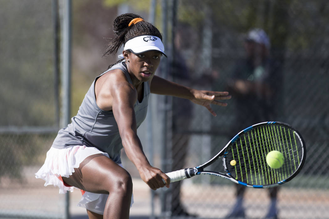 Kaya Richardson, 15, during a team tennis practice at Palo Verde High School in Las Vegas, Wednesday, Sept. 27, 2017. Erik Verduzco Las Vegas Review-Journal @Erik_Verduzco