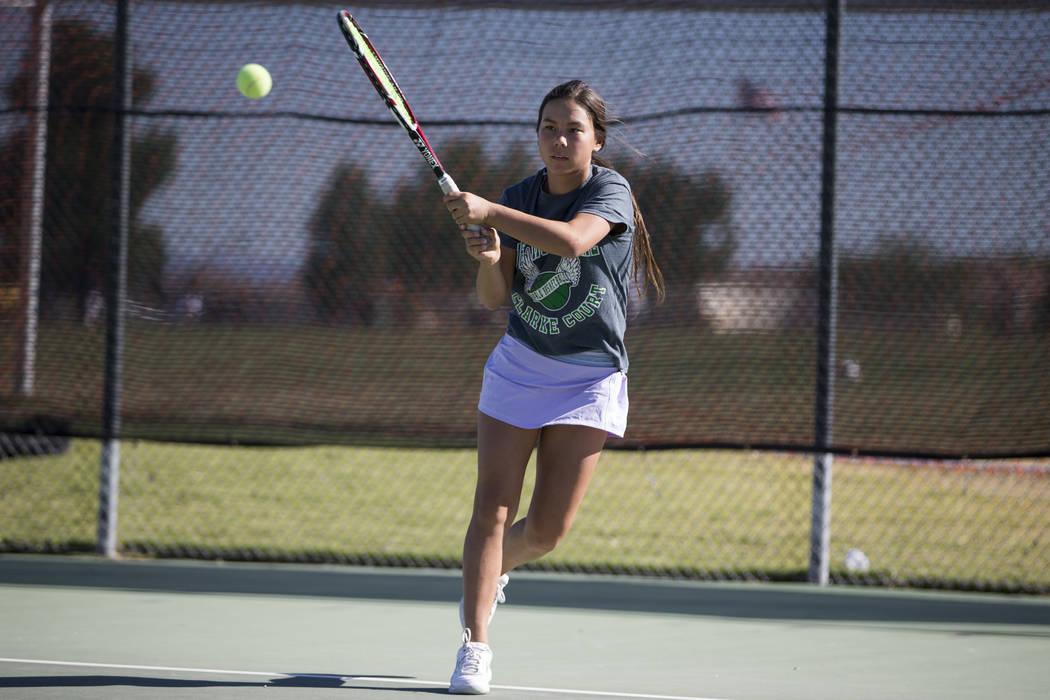Devon Yamane, 15, during a team tennis practice at Palo Verde High School in Las Vegas, Wednesday, Sept. 27, 2017. Erik Verduzco Las Vegas Review-Journal @Erik_Verduzco