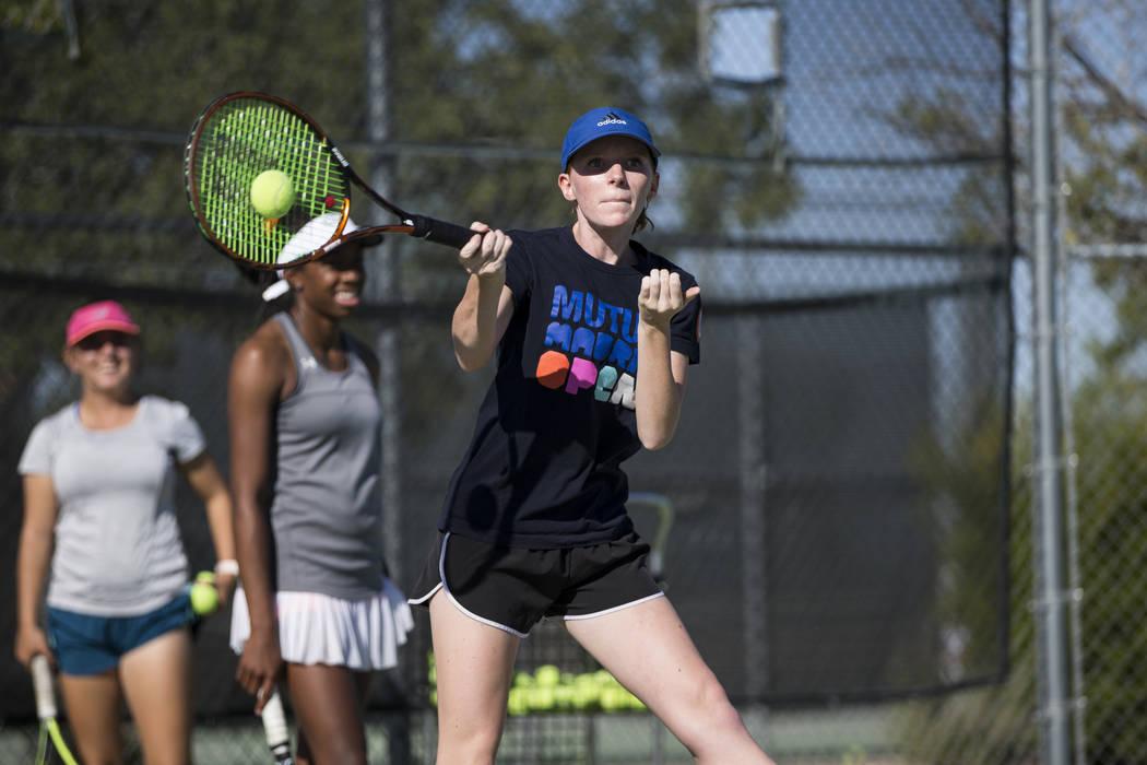 Maren Ferris, 17, during a team tennis practice at Palo Verde High School in Las Vegas, Wednesday, Sept. 27, 2017. Erik Verduzco Las Vegas Review-Journal @Erik_Verduzco