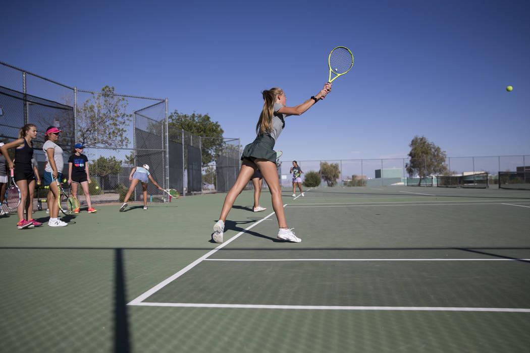 Nicole Mendenhall, 16, during a team tennis practice at Palo Verde High School in Las Vegas, Wednesday, Sept. 27, 2017. Erik Verduzco Las Vegas Review-Journal @Erik_Verduzco