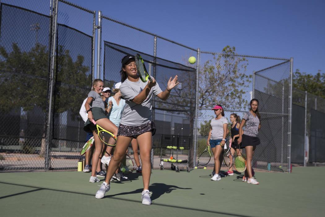 Caroline Hsu, 15, during a team tennis practice at Palo Verde High School in Las Vegas, Wednesday, Sept. 27, 2017. Erik Verduzco Las Vegas Review-Journal @Erik_Verduzco