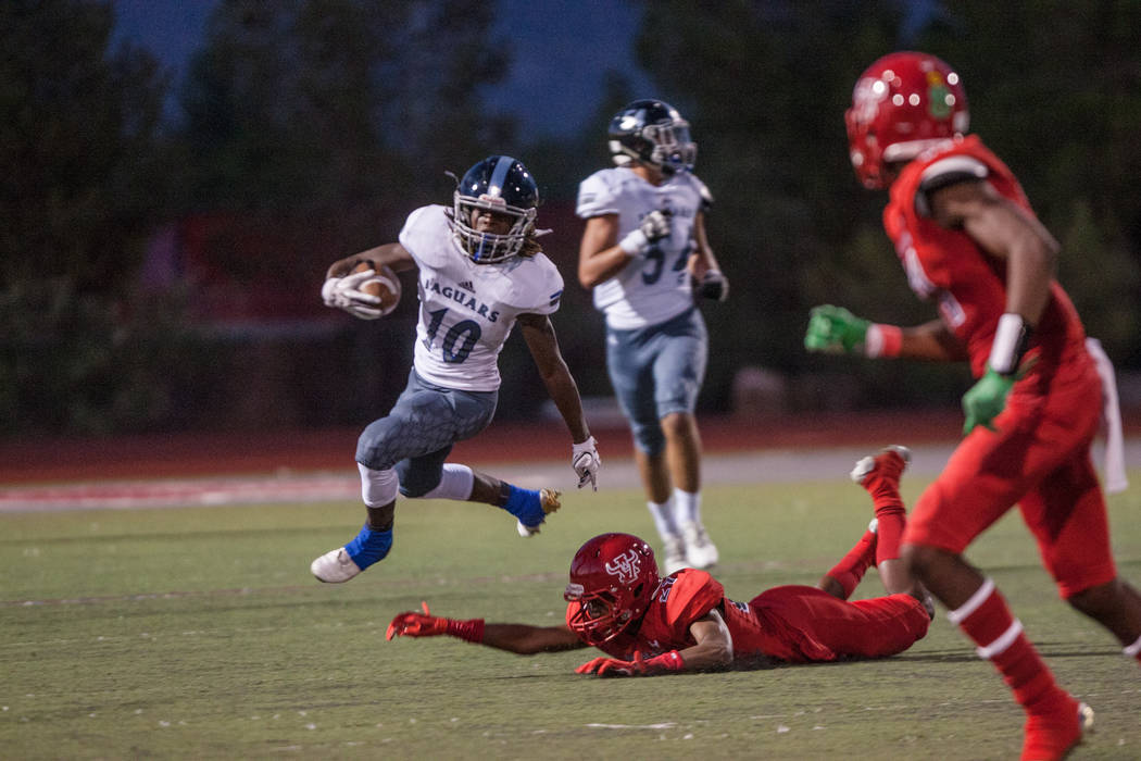 Desert Pines Jaguar wide receiver Devin McGee runs towards the sideline at Arbor View High School on Friday, Sep. 1, 2017, in Las Vegas. Morgan Lieberman Las Vegas Review-Journal