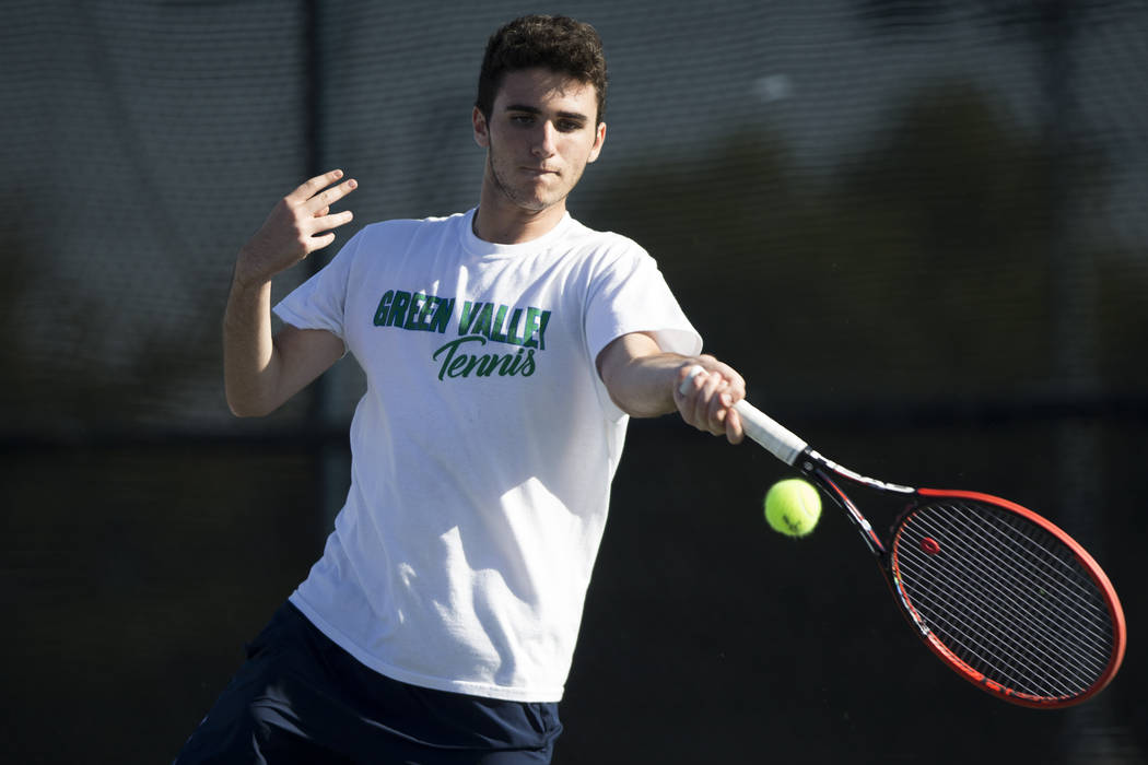 Green Valley's Ryan Elezra during his singles match at the Darling Tennis Center in Las Vegas, Thursday, Oct. 5, 2017. Erik Verduzco/Las Vegas Review-Journal