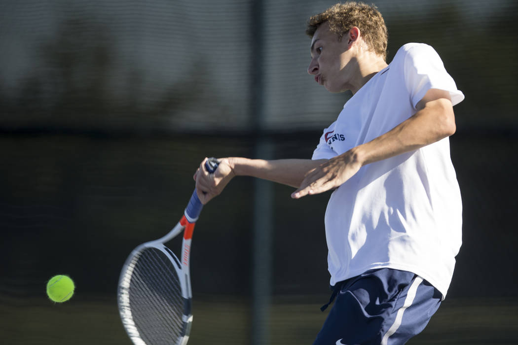 Coronado's Ethan Quandt during his singles match at the Darling Tennis Center in Las Vegas, Thursday, Oct. 5, 2017. Erik Verduzco/Las Vegas Review-Journal