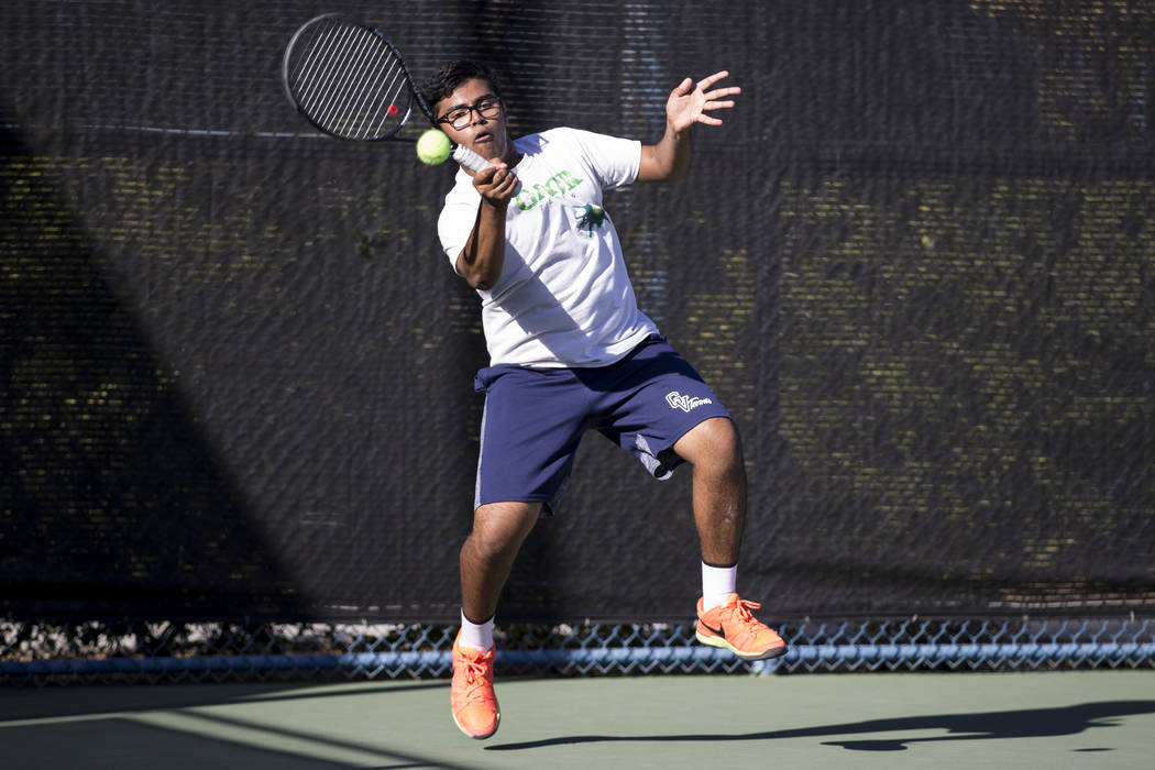Green Valley's Rushil Shah during his doubles match at the Darling Tennis Center in Las Vegas, Thursday, Oct. 5, 2017. Erik Verduzco/Las Vegas Review-Journal