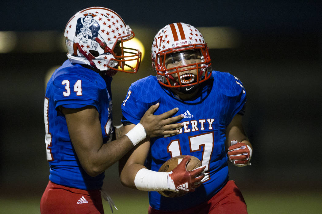 Liberty's Mana Moniz (17) after running for a touchdown against Foothill in their football game at Liberty High School in Henderson, Friday, Oct. 6, 2017. Erik Verduzco Las Vegas Review-Journal @E ...