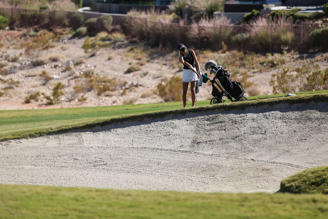 Palo Verde's Annick Haczkiewicz swings during the Class 4A Sunrise and Sunset Region girls golf tournaments at Bear's Best Golf Club in Las Vegas, Tuesday, Oct. 10, 2017. Joel Angel Juarez Las Veg ...