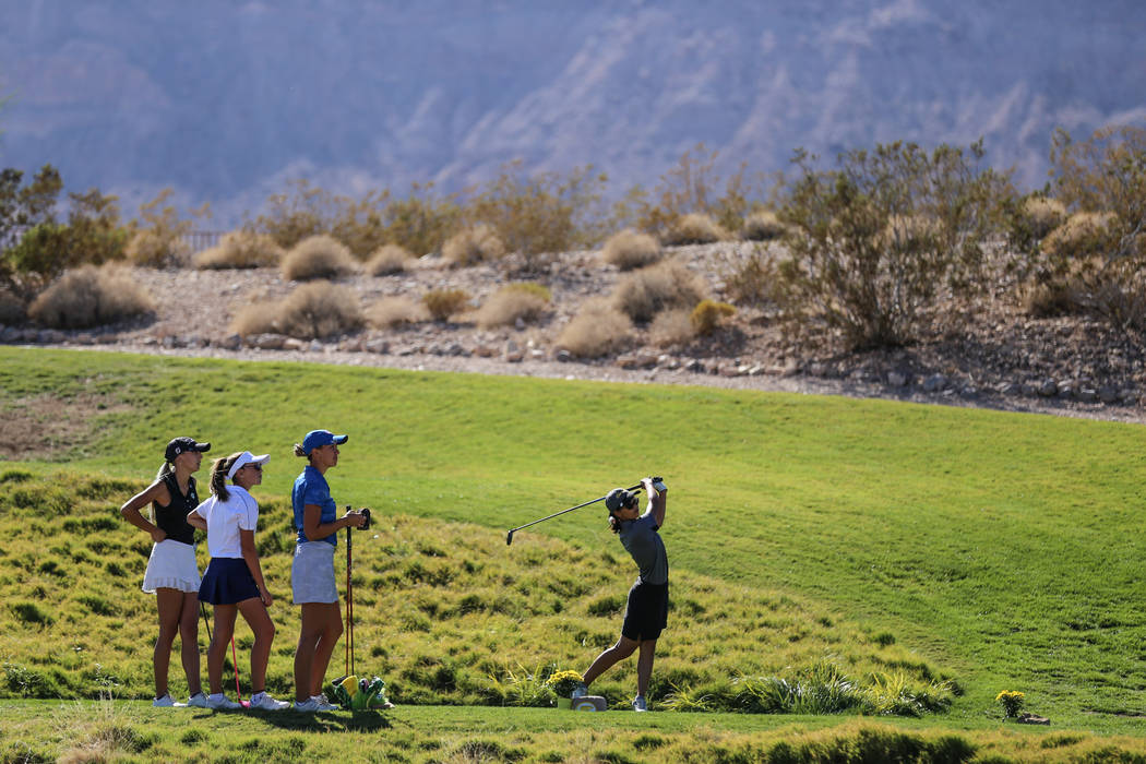 Clark's Riana Mission swings during the Class 4A Sunrise and Sunset Region girls golf tournaments at Bear's est Golf Club in Las Vegas, Tuesday, Oct. 10, 2017. Joel Angel Juarez Las Vegas Review-J ...
