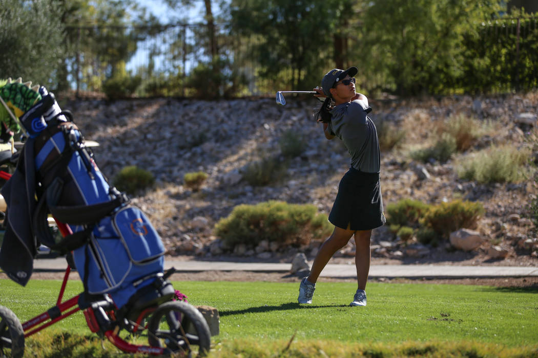 Clark's Riana Mission swings during the Class 4A Sunrise and Sunset Region girls golf tournaments at Bear's Best Golf Club in Las Vegas, Tuesday, Oct. 10, 2017. Joel Angel Juarez Las Vegas Review- ...