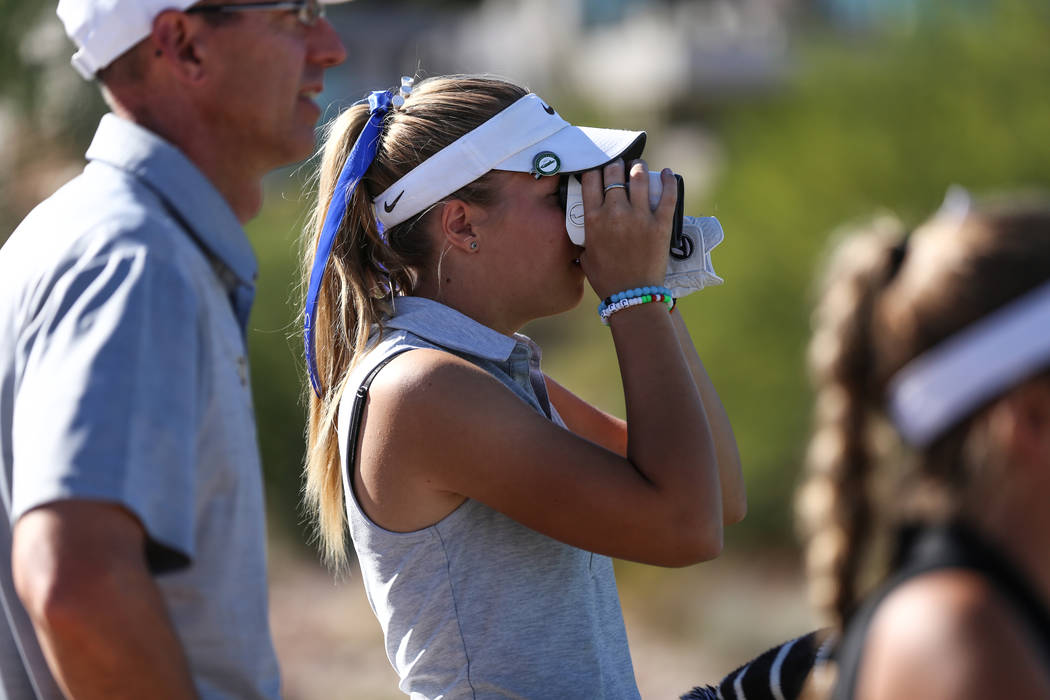 Faith Lutheran's Sydney Smith scouts the golf course during the Class 4A Sunrise and Sunset Region girls golf tournaments at Bear's Best Golf Club in Las Vegas, Tuesday, Oct. 10, 2017. Joel Angel  ...