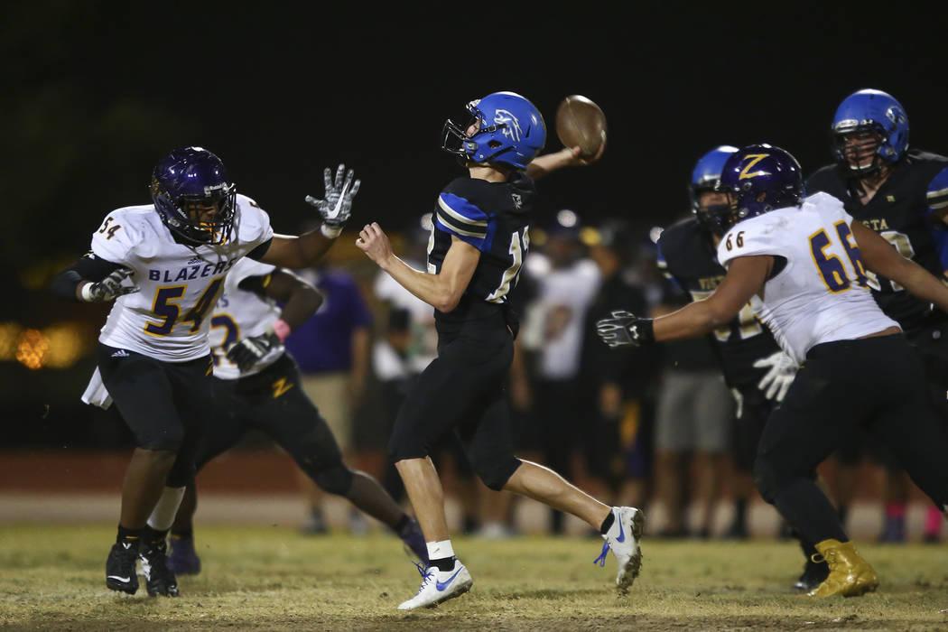 Sierra Vista's Trevor Gentner (12) goes for a pass during a football game against Durango at Sierra Vista High School in Las Vegas on Friday, Oct. 13, 2017. Chase Stevens Las Vegas Review-Journal  ...
