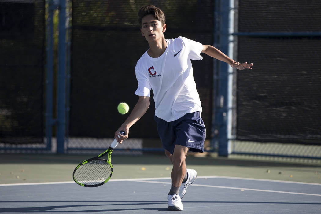 Coronado's Zachary Sullivan during the boy's singles Sunrise Regional championship at the Darling Tennis Center in Las Vegas, Saturday, Oct. 14, 2017. Erik Verduzco Las Vegas Review-Journal @Erik_ ...