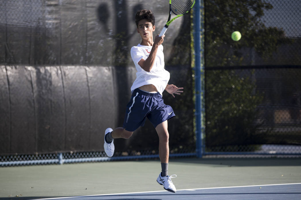 Coronado's Zachary Sullivan during the boy's singles Sunrise Regional championship at the Darling Tennis Center in Las Vegas, Saturday, Oct. 14, 2017. Erik Verduzco Las Vegas Review-Journal @Erik_ ...