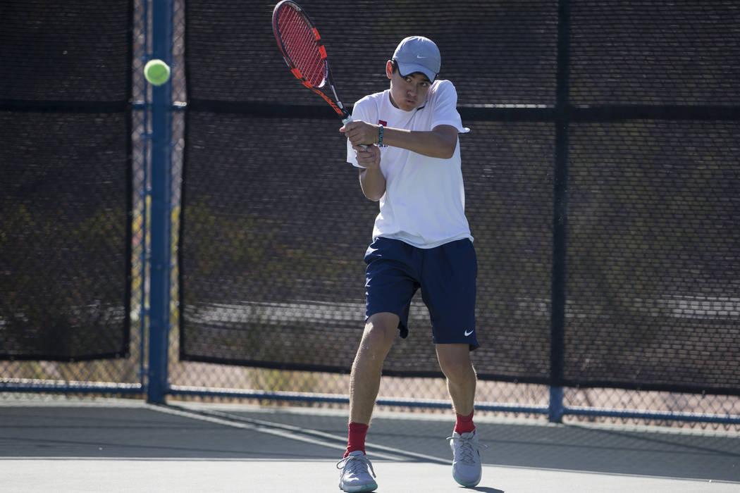 Coronado's Sebastian Frace during the boy's singles Sunrise Regional championship at the Darling Tennis Center in Las Vegas, Saturday, Oct. 14, 2017. Erik Verduzco Las Vegas Review-Journal @Erik_V ...