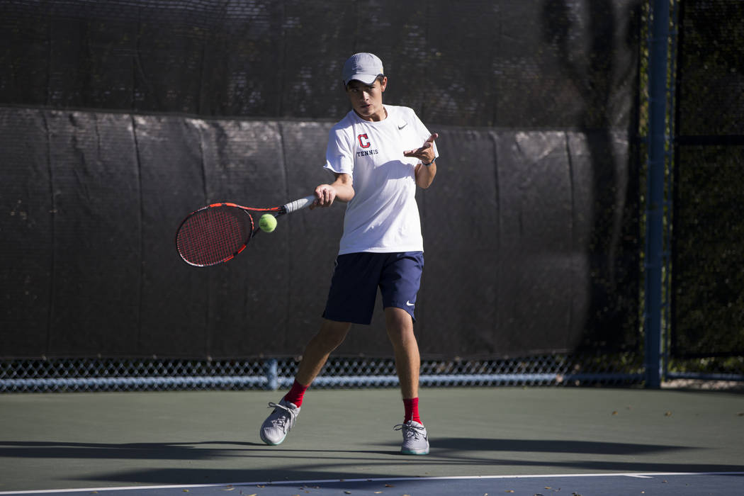 Coronado's Sebastian Frace during the boy's singles Sunrise Regional championship at the Darling Tennis Center in Las Vegas, Saturday, Oct. 14, 2017. Erik Verduzco Las Vegas Review-Journal @Erik_V ...