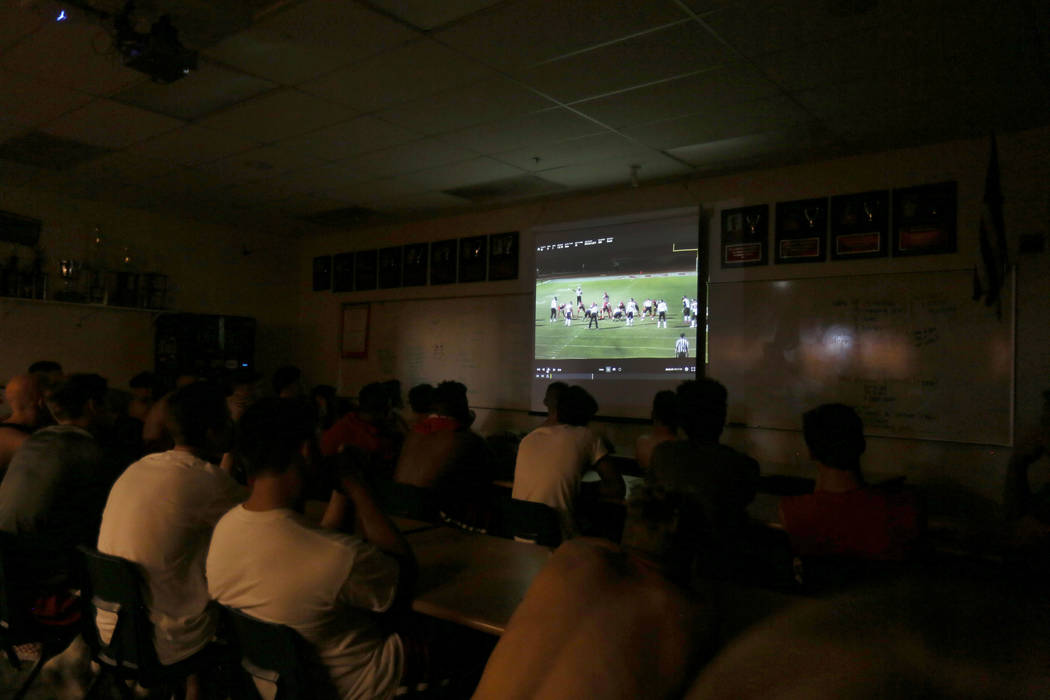 Arbor View's football team watches their team's game film at Arbor View high school in Las Vegas, Monday, Oct. 16, 2017. Elizabeth Brumley Las Vegas Review-Journal @EliPagePhoto