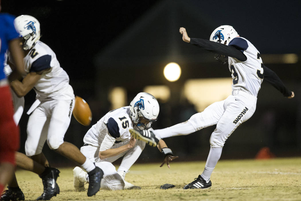 Foothill's Jacob Wolf (33) kicks the ball for a field goal against Liberty in their football game at Liberty High School in Henderson, Friday, Oct. 6, 2017. Erik Verduzco Las Vegas Review-Journal  ...