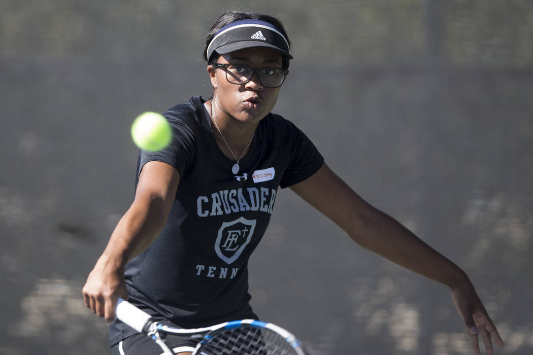 Faith Lutheran's Jade Mayweather during her singles tennis match at the Darling Tennis Center in Las Vegas, Thursday, Oct. 5, 2017. Erik Verduzco/Las Vegas Review-Journal