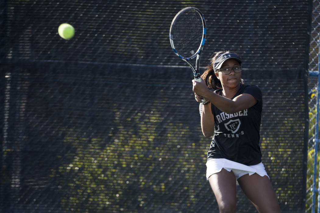 Faith Lutheran's Jade Mayweather during the girl's singles Sunset Regional championship at the Darling Tennis Center in Las Vegas, Saturday, Oct. 14, 2017. Erik Verduzco Las Vegas Review-Journal @ ...