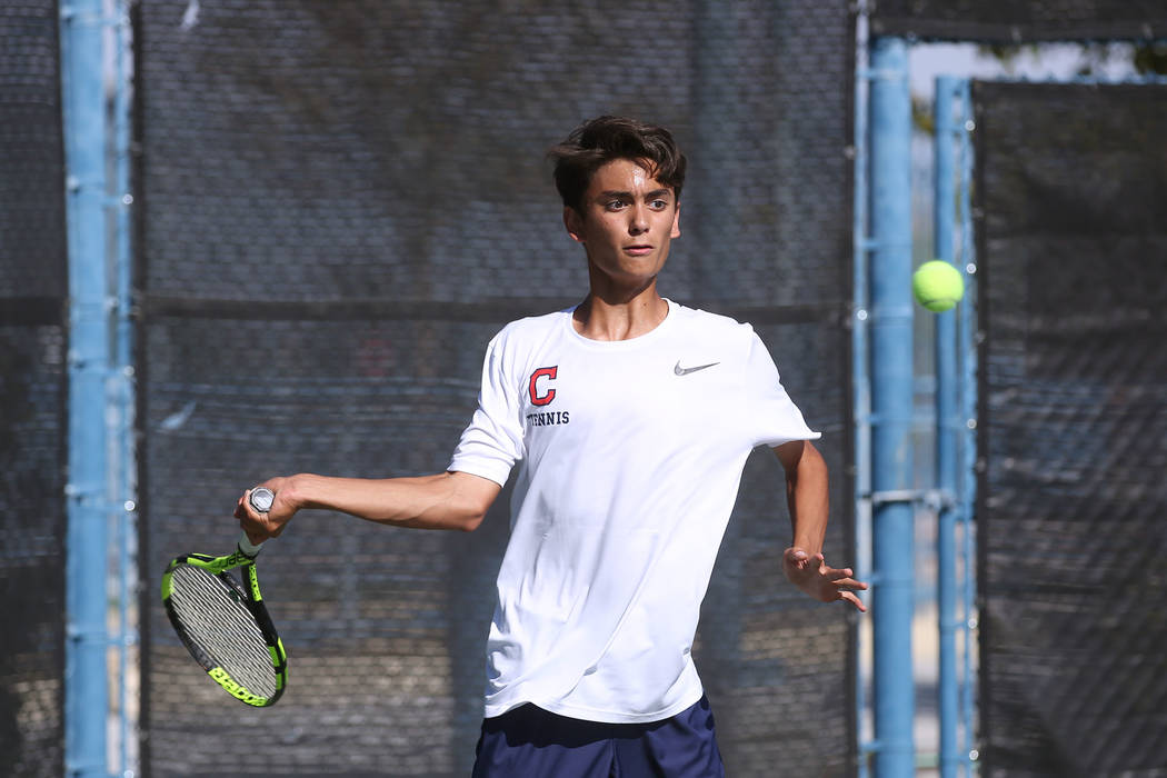 Coronado singles player Zac Sullivan hits ball during a match against Palo Verde in boys state tennis semifinals at Darling Tennis Center in Las Vegas, Thursday, Oct. 19, 2017. Bridget Bennett Las ...